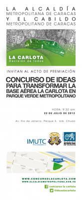 Invitación: Acto de Premiación Concurso de Ideas La Carlota, dom22  9.30 am